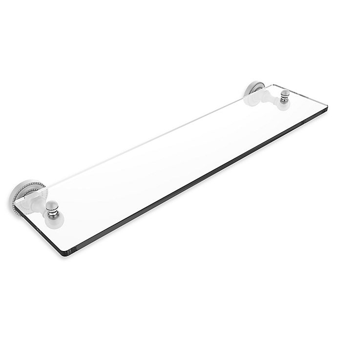 Alternate image 1 for Allied Brass Dottingham 22 -Inch Glass Vanity Shelf with Beveled Edges in Matte White