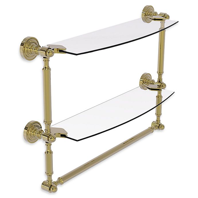 Alternate image 1 for Allied Brass Dottingham 2-Tier 18-Inch Glass Shelf with Towel Bar in Unlacquered Brass