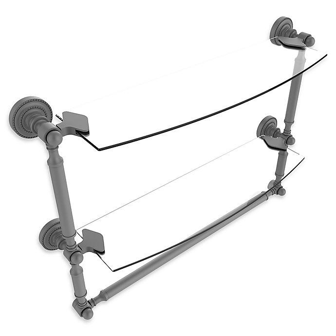 Alternate image 1 for Allied Brass Dottingham 2-Tier 18-Inch Glass Shelf with Towel Bar in Matte Grey