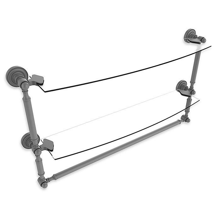 Alternate image 1 for Allied Brass Dottingham 2-Tier 24-Inch Glass Shelf with Towel Bar in Matte Grey