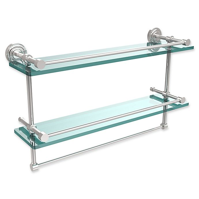 Alternate image 1 for Allied Brass Dottingham 2-Tier 22-Inch Gallery Glass Shelf with Towel Bar in Polished Chrome