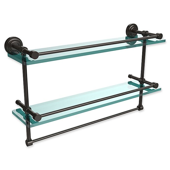 Alternate image 1 for Allied Brass Dottingham 2-Tier 22-Inch Gallery Shelf with Towel Bar in Oil Rubbed Bronze