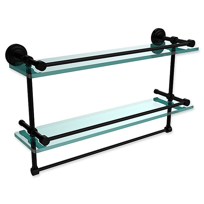 Alternate image 1 for Allied Brass Dottingham 2-Tier 22-Inch Gallery Glass Shelf with Towel Bar in Matte Black
