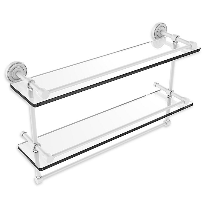 Alternate image 1 for Allied Brass Dottingham 2-Tier 22-Inch Gallery Glass Shelf with Towel Bar in Matte White
