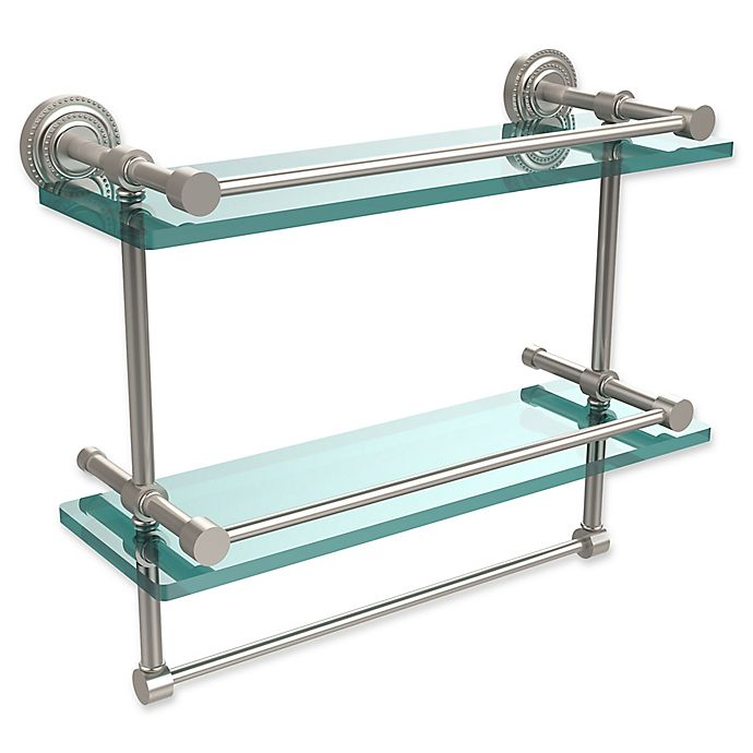 Alternate image 1 for Allied Brass Dottingham 2-Tier 16-Inch Gallery Glass Shelf with Towel Bar in Satin Nickel