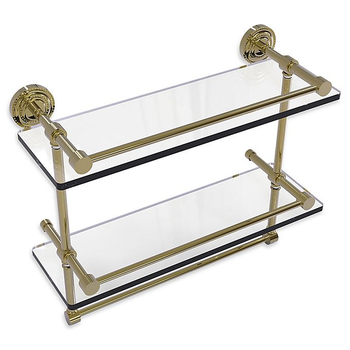 Alternate image 1 for Allied Brass Dottingham 2-Tier 16-Inch Gallery Glass Shelf with Towel Bar in Unlacquered Brass