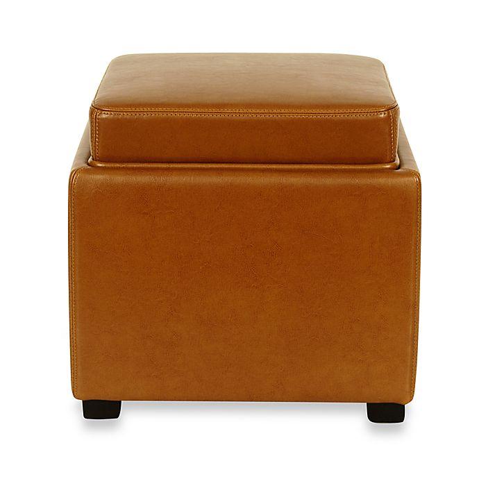 Alternate image 1 for Safavieh Hudson Leather Bobbi Storage Ottoman