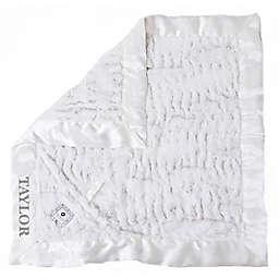 Zalamoon Plush Luxie Pocket Monogram Blanket with Pocket Holder in Flake