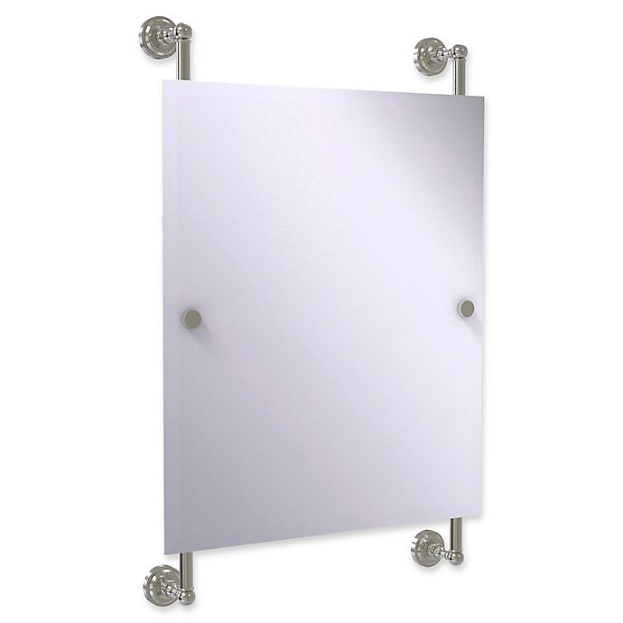 Alternate image 1 for Allied Brass Dottingham Collection Rectangular Frameless Rail Mounted Mirror in Satin Nickel
