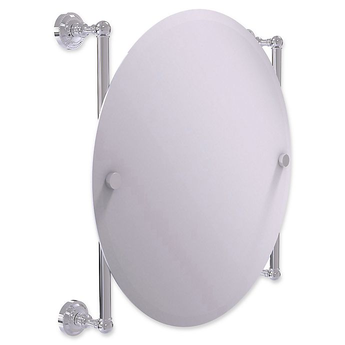 Alternate image 1 for Allied Brass Dottingham Collection Round Frameless Rail Mounted Mirror in Polished Chrome
