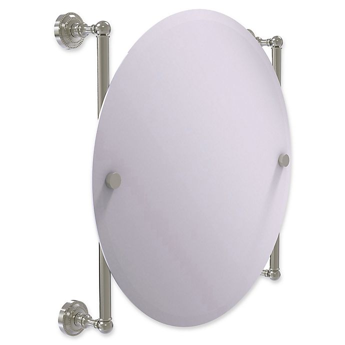 Alternate image 1 for Allied Brass Dottingham Collection Round Frameless Rail Mounted Mirror in Satin Nickel