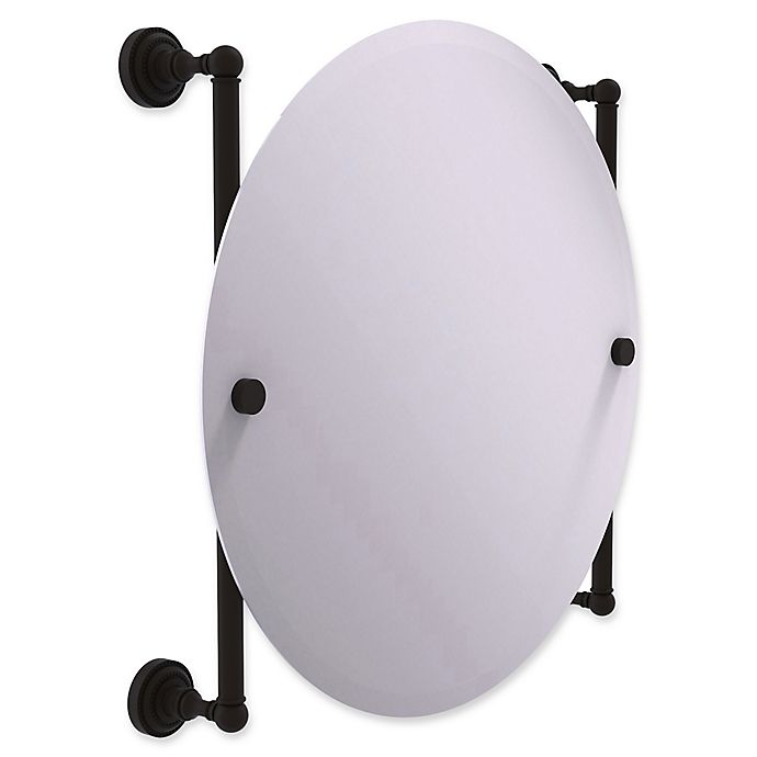 Alternate image 1 for Allied Brass Dottingham Collection Round Frameless Rail Mounted Mirror in Oil Rubbed Bronze