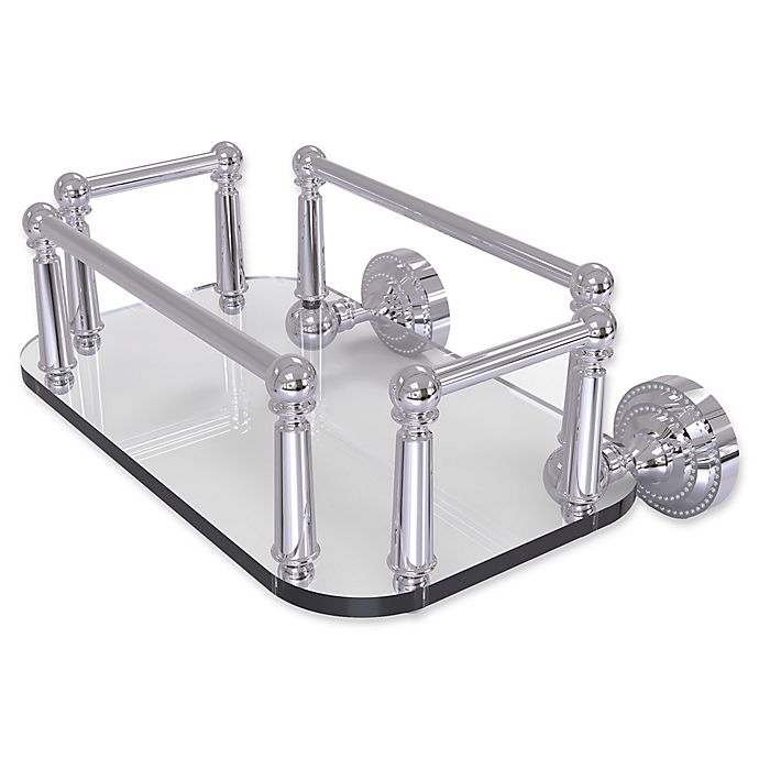 Alternate image 1 for Allied Brass Dottingham Collection Wall Mounted Glass Guest Towel Tray in Polished Chrome