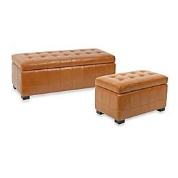 Safavieh Hudson Leather Manhattan Storage Bench - Saddle
