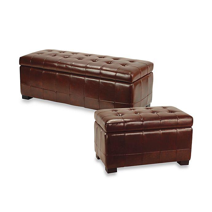 Groovy Safavieh Hudson Leather Manhattan Storage Bench In Cordovan Ncnpc Chair Design For Home Ncnpcorg