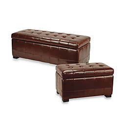 Safavieh Hudson Leather Manhattan Storage Bench in Cordovan