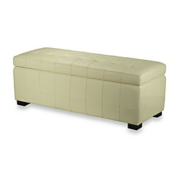 Safavieh Hudson Leather Large Manhattan Storage Bench in Off White