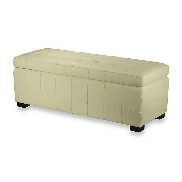 Alternate image 1 for Safavieh Hudson Leather Large Manhattan Storage Bench in Off White