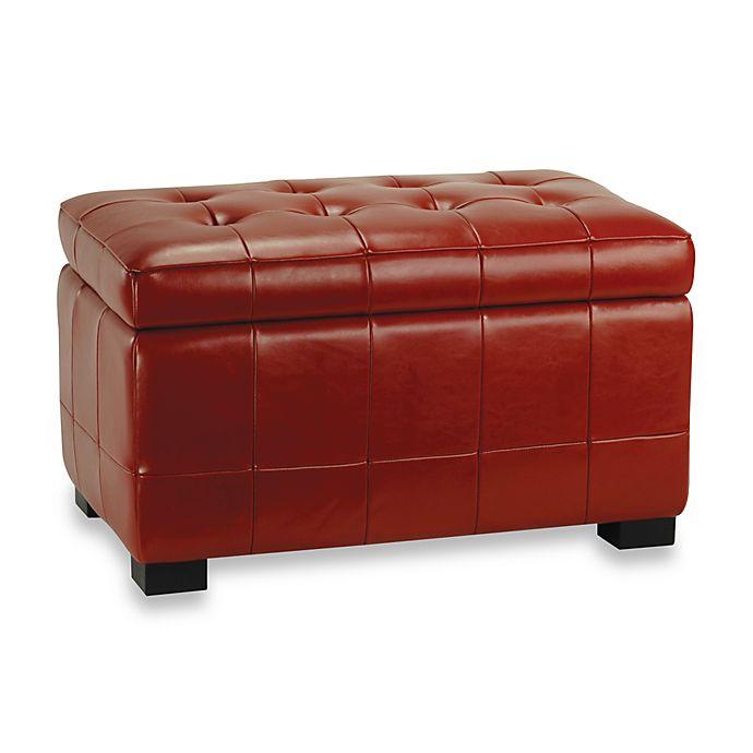 Safavieh Hudson Leather Small Manhattan, Storage Bench Red