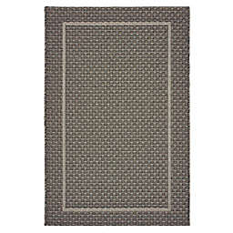Miami Border Indoor/Outdoor Area Rug in Grey