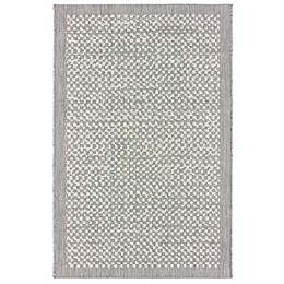 Miami Check Border Indoor/Outdoor Rug in Grey