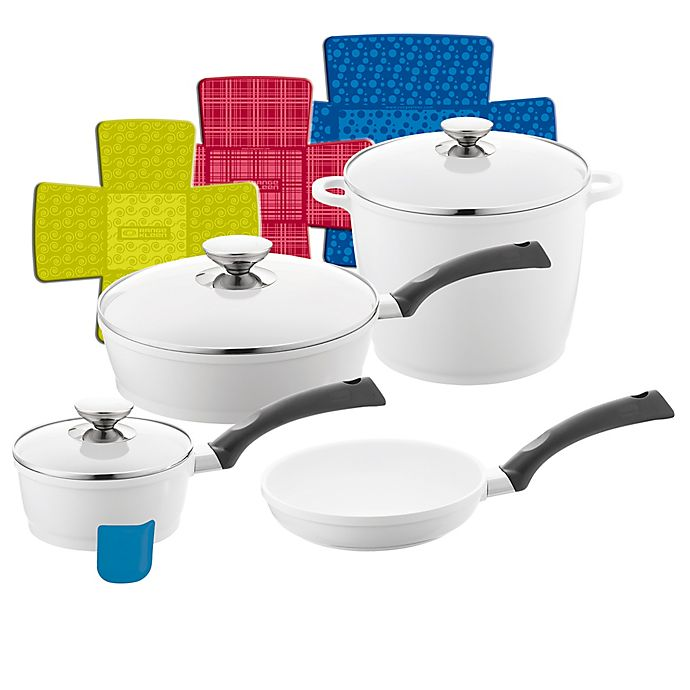 Alternate image 1 for Berndes® SignoCAST® 11-Piece Ceramic Cast Aluminum Cookware Set in Pearl