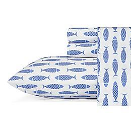 Nautica® Wood Fish Printed Sheet Set in Blue