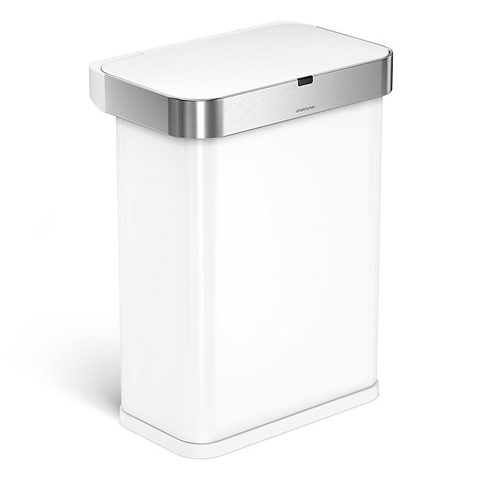 Alternate image 1 for simplehuman® 58-Liter Rectangular Voice/Motion Sensor Trash Can in White