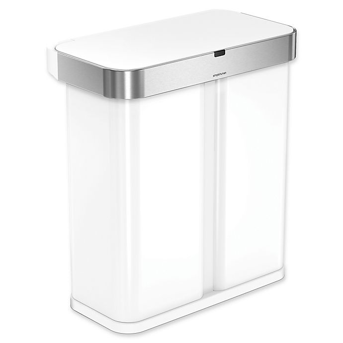 buy simplehuman 58 liter dual compartment voice motion sensor trash can in white from bed. Black Bedroom Furniture Sets. Home Design Ideas