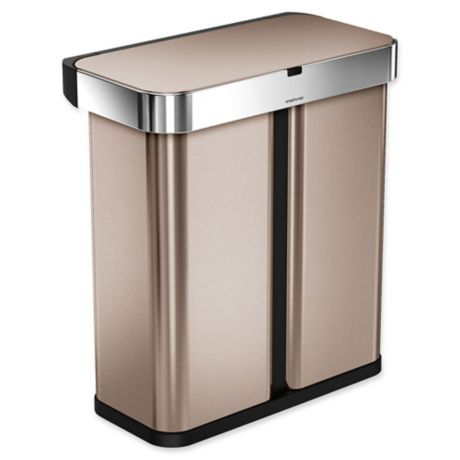 buy simplehuman 58 liter dual compartment voice motion sensor trash can in rose gold from bed. Black Bedroom Furniture Sets. Home Design Ideas