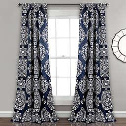 Karmen Medallion 84-Inch Room Darkening Window Curtain Panels in Navy (Set of 2)