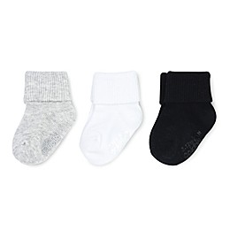 On The Goldbug™ 3-Pack Folded Cuff Socks in Grey/White/Black
