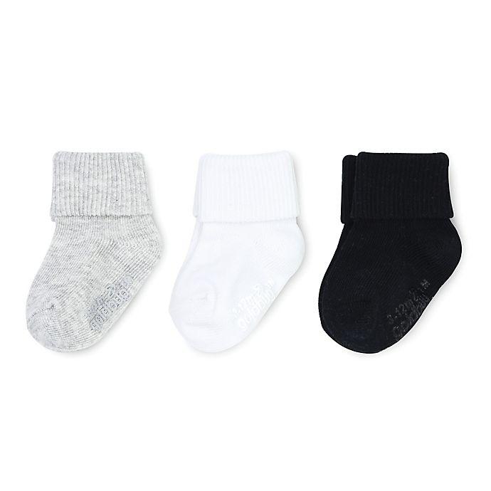 Alternate image 1 for On The Goldbug™ 3-Pack Folded Cuff Socks in Grey/White/Black