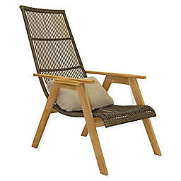 Outdoor Interiors® Teak & Wicker Outdoor Basket Loungers Brown/Grey (Set of 2)