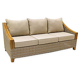 Outdoor Interiors® Teak & Wicker Outdoor Sofa with Sunbrella Fabric Cushions in Brown/Grey