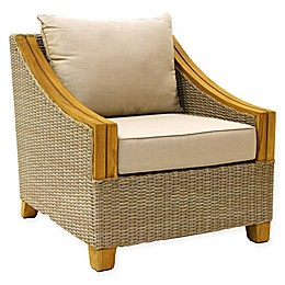 Outdoor Interiors® Teak & Wicker Outdoor Arm Chair with Sunbrella Cushions in Brown/Grey