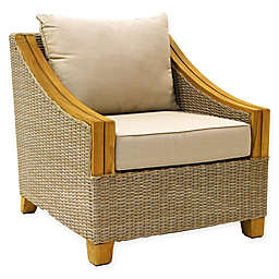 Outdoor Interiors® Teak & Wicker Outdoor Arm Chair with Sunbrella Cushions in Brown/Grey