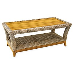 Outdoor Interiors® Teak & Wicker Outdoor Coffee Table in Brown/Grey