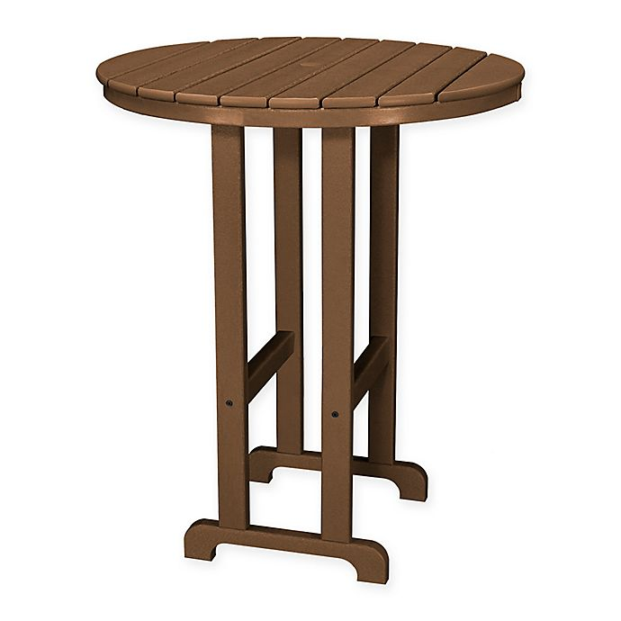 Alternate image 1 for POLYWOOD® La Casa 36-Inch Round Outdoor Bar Table in Teak