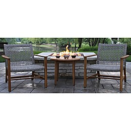 Outdoor Interiors® Teak & Wicker Outdoor Loungers  in Brown/Grey (Set of 2)