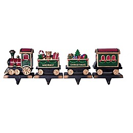 4-Piece Christmas Train Stocking Holders