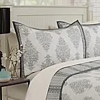 Bagru Damask Standard Pillow Sham in White/Grey