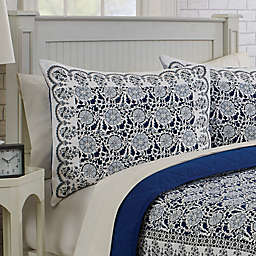 Laila Standard Pillow Sham in White/Blue