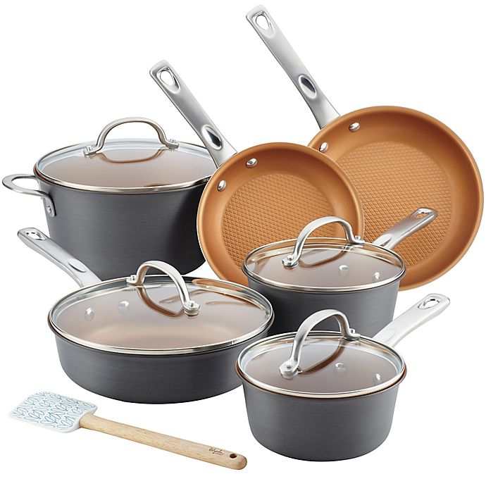 Alternate image 1 for Ayesha Curry™ Hard Anodized Aluminum 11-Piece Cookware Set in Charcoal Grey