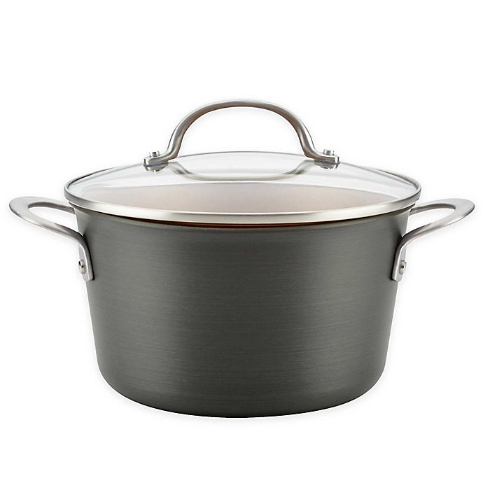 Alternate image 1 for Ayesha Curry™ Hard Anodized Aluminum 4.5 qt. Covered Sauce Pot in Charcoal Grey