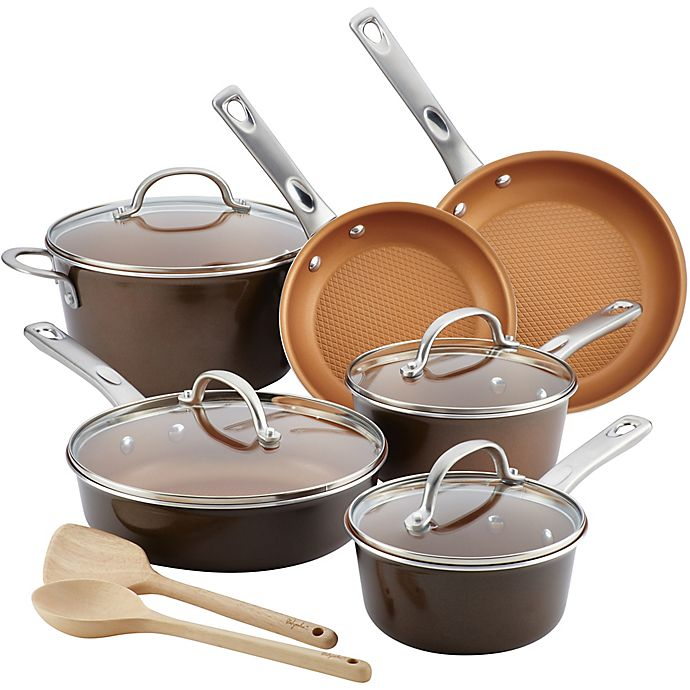 Alternate image 1 for Ayesha Curry™ Porcelain Enamel Nonstick 12-Piece Cookware Set in Brown Sugar