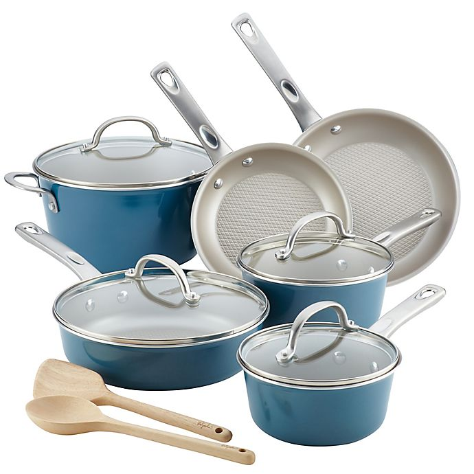 Alternate image 1 for Ayesha Curry™ Porcelain Enamel Nonstick 12-Piece Cookware Set in Twilight Teal
