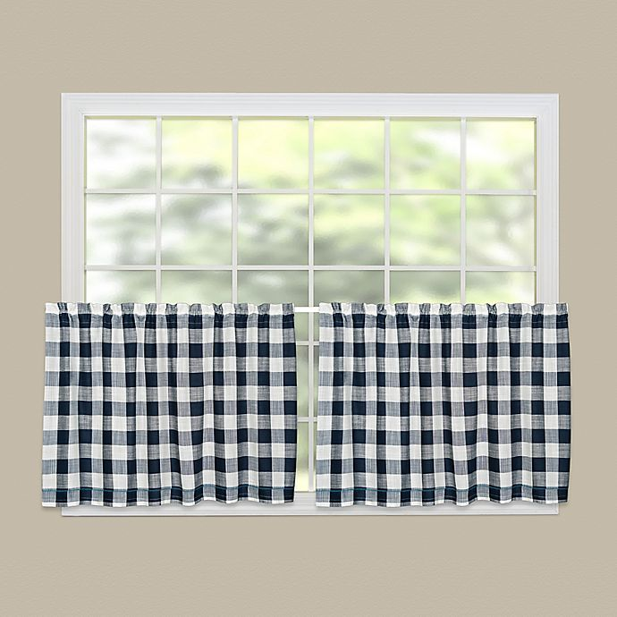 Alternate image 1 for Heritage Lace® Buffalo Check 30-Inch Kitchen Window Curtain Tier Pair in Navy