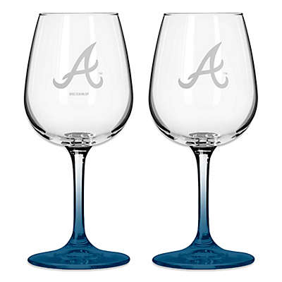 Satin Etched MLB Atlanta Braves Wine Glasses (Set of 2)