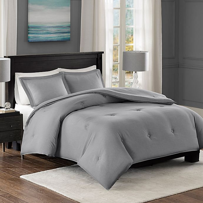 Alternate image 1 for Madison Park Essentials Yarn-Dyed Heather Down Alternative Full/Queen Comforter Set in Grey